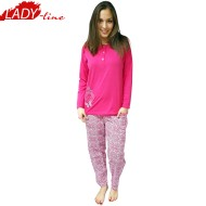 Pijamale Dama Groasa, Model Land Of Butterfly, Producator Baki Collection, Bumbac 100%, Culoare Fuchsia
