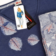 Pijamale Dama M-Max, Bumbac 100%, 'Blue Autumn'