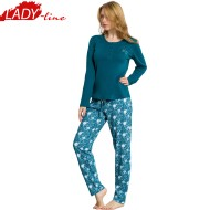 Pijamale Dama Maneca Lunga, Material Bumbac 100% Interlock, Culoare Verde, Model Moments Of Life, Producator Kezokino by Vienetta, Pijamale Dama Vienetta