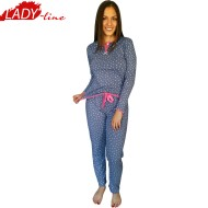 Pijamale Dama Maneca Lunga si Pantalon Lung, Material Bumbac 100%, Model 'I'm In Love', Brand Senso, Culoare Albastru, Pijamale Import Italia