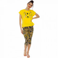 Pijamale Dama Manesca Scurta Pantalon 3/4 Vienetta Model 'Wild and Cute'