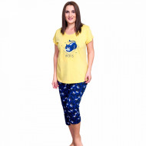 Pijamale Dama Marimi Mari din Bumbac, Vienetta Model 'Home Is Where My Cat Is'