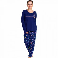 Pijamale Dama Marimi Mari Vienetta Bumbac 100% 'Feel Good' Blue