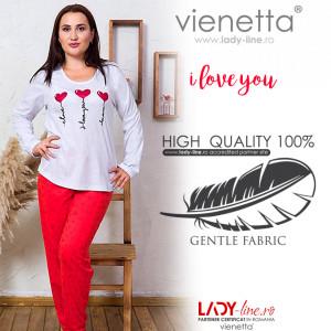 Pijamale Dama Marimi Mari Vienetta Model 'I Love You' Gray Light