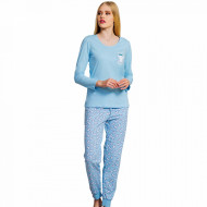 Pijamale Dama Vienetta Bumbac 100% 'Sweet Dreams' Blue