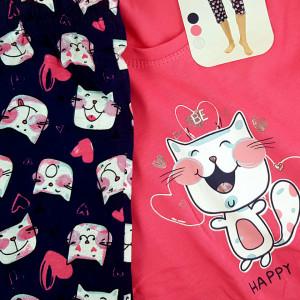 Pijamale Dama Vienetta din Bumbac cu Pantalon 3/4 Model 'Be Happy' Pink