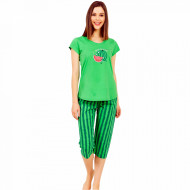 Pijamale Dama Vienetta din Bumbac cu Pantalon 3/4 Model 'Hello Summer' Green