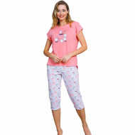 Pijamale Dama Vienetta din Bumbac cu Pantalon 3/4 Model 'Sweet Coffee' Pink