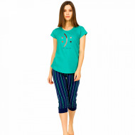 Pijamale Dama Vienetta din Bumbac Model 'Happy or Sad You Decide' Green