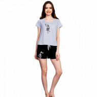Pijamale Dama Vienetta, 'Zebra Loves Sun' Gray
