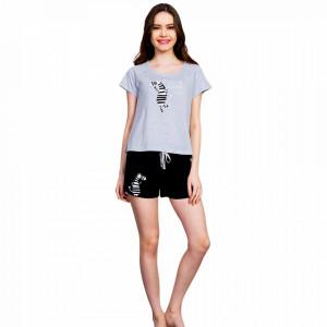 Pijamale Dama Vienetta, 'Zebra Loves Sun' Gray