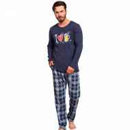 Pijamale din Bumbac Barbati Gazzaz by Vienetta 'I Love Bear' Dark Gray