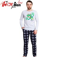 Pijamale Gazzaz by Vienetta, Bumbac 100%, 'Crazy Frog' Gray