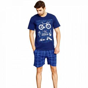 Pijamale Gazzaz by Vienetta, Bumbac 100%, 'Swim, Bike & Run' Dark Blue