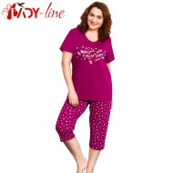 Pijamale Vienetta Secret, Bumbac 100%, 'Good Things Will Come' Burgundy