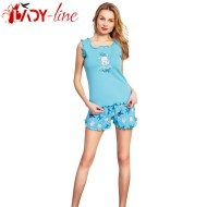 Pijamale Vienetta Secret, Bumbac 100%, 'Love Always Wins' Turquoise