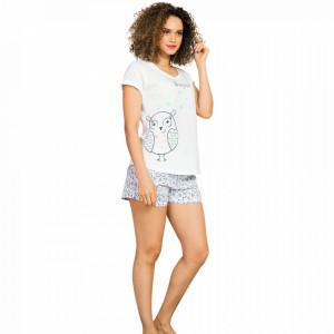 Pijamale Dama Vienetta, 'Sleepy Owl' Culoare Alb