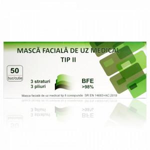 Masca Faciala de Uz Medical Tip 2 cu 3 Straturi Globaltreat Negru Anthracite, Cutie 50 Bucati