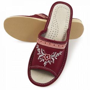 Papuci de Casa Dama din Piele, Sezon Vara, Culoare Burgund Model 'Naama Burgund'