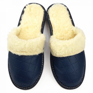 Papuci de Casa Dama Imblaniti cu Lana de Oaie Model 'Renaissance' Royal Blue
