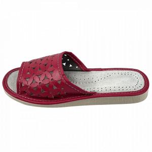 Papuci de Casa Dama, Material Piele, Culoare Visiniu, Model 'Flawors Patrol' Burgundy