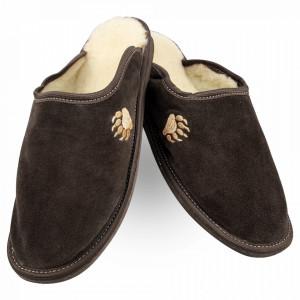 Papuci de Casa din Piele si Lana de Oaie Culoare Maro Brun Model 'Atingerea Ursului'