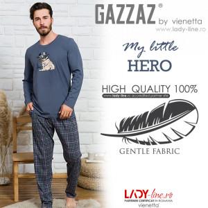 Pijama Barbati Bumbac 100% Gazzaz by Vienetta, 'M little Hero' Gray