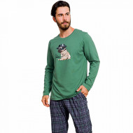 Pijama Barbati Bumbac 100% Gazzaz by Vienetta 'My little Hero' Green