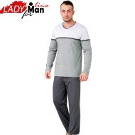 Pijama Barbati Maneca/Pantalon Lung, 'Urban Gray', M-M Nightwear