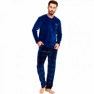 Pijama Barbati Velur, Gazzaz by Vienetta, 'Vision of the Generations' Blue