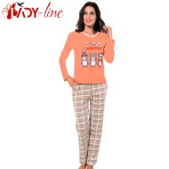Pijama Dama Bumbac Interlock, 'Love Winter', Fawn