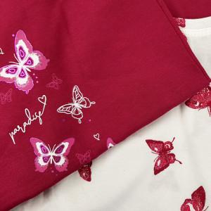 Pijama Dama din Bumbac 100% Vienetta Model 'Paradise Butterfly'