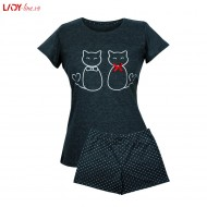 Pijama Dama Muzzy, 'Lovely Kittens' Dark Gray