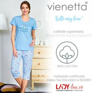 Pijama Dama Vienetta Bumbac 100%, 'Hello My Love' Blue