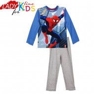 Pijamale Baieti cu Licenta, Model Spiderman Action, Producator Marvel France, Culoare Gri/Albastru, Pijamale Spiderman Maneca si Pantalon Lung