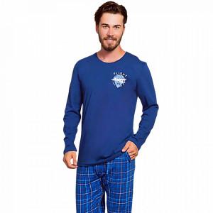 Pijamale Barbati Bumbac 100% Gazzaz by Vienetta 'Flight Crew' Blue