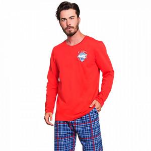 Pijamale Barbati Bumbac 100% Gazzaz by Vienetta 'Flight Crew' Red