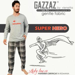 Pijamale Barbati Gazzaz by Vienetta Model 'Super Hero' Gray