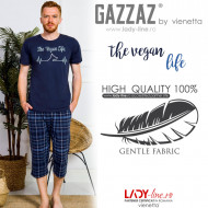 Pijamale Barbati Marimi Mari din Bumbac 100% Gazzaz by Vienetta Model 'Vegan Life'