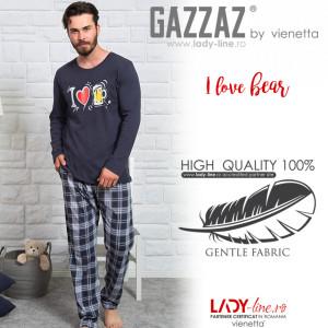 Pijamale Barbati Marimi Mari Gazzaz by Vienetta 'I Love Bear' Dark