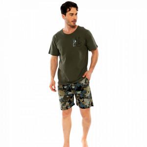 Pijamale Barbati Pantalon Scurt Gazzaz by Vienetta Model 'Love Peace'