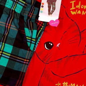 Pijamale Confortabile Dama Marimi Mari Vienetta Model 'Cattitude' Red