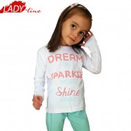 Pijamale Copii Fetite, Dream Big Shine Bright, Bumbac 100%, Culoare Alb/Turcoaz, Pijamale Copii Maneca si Pantalon Lung