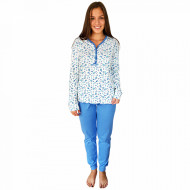 Pijamale Dama Bumbac 100%, Senso, Model Blue Fields