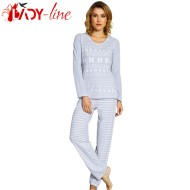 Pijamale Dama Bumbac 100%, 'Winter Tradition' Gray, Vienetta Secret