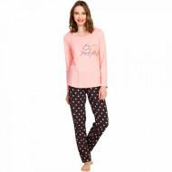 Pijamale Dama Bumbac Vienetta, Model 'Lets Just Sleep' Somon