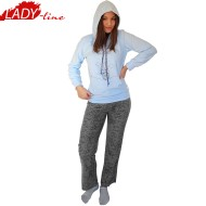 Pijamale Dama Calduroase Maneca Lunga, Model Flying Elephant, Producator Benter Fashion Wear, Material Micropolar, Culoare Albastru/Gri, Pijamale Calduroase Dama Maneca si Pantalon Lung