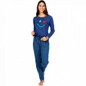 Pijamale Dama din Bumbac 100% Model 'Happy Life' Bluea