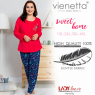 Pijamale Dama din Bumbac Marimi Mari Vienetta Model 'Sweet Home' Red