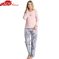 Pijamale Dama Maneca Lunga, Model Be Awesome, Producator Vienetta, Bumbac 100%, Culoare Roz, Pijamale Dama Vienetta